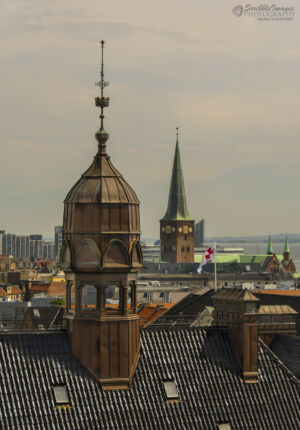 Aarhus Cathedral in the background (green spire)  viewed from the ARoS Museum