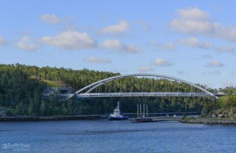 Svindersviksbron Road Bridge transiting the Svindersviksen, Stockholm Archipelago