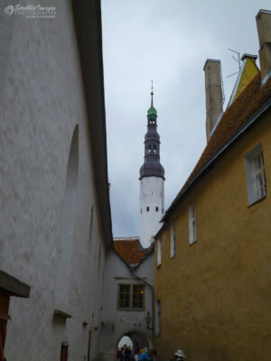 Tallinn pedestrian way, Holy Spirit Church steeple in the background