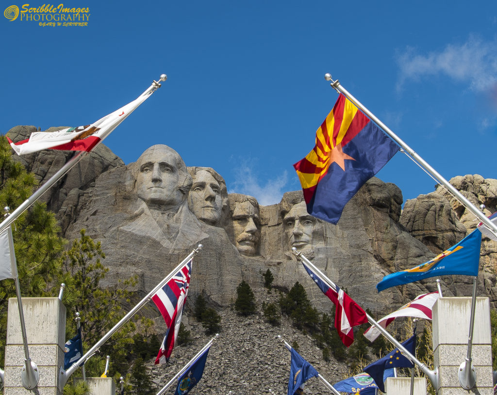 Flags Saluting 4 Great Presidents